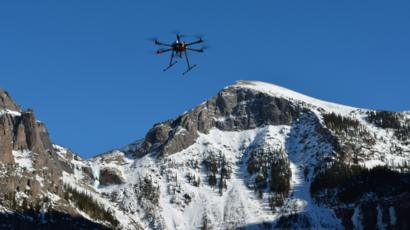 Drone in mountain scenery