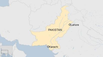 Map of Pakistan highlighting Lahore and Karachi