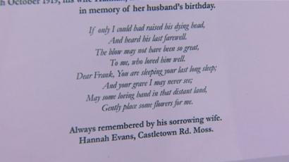 Widows War Grave Flowers Plea Answered 100 Years On Bbc News