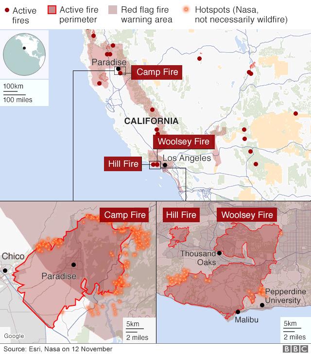 California Wildfires Death Toll Reaches Grim Milestone Bbc News