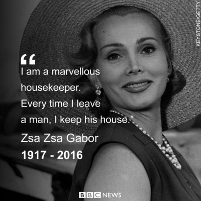 Zsa Zsa Gabor In Her Own Words Bbc News