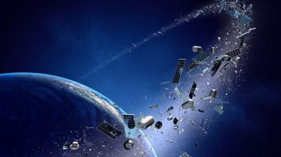 Earth, it's orbit full of space junk