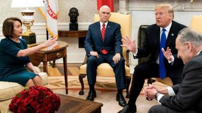 Reunión en la Casa Blanca el pasado 11 de diciembre para discutir sobre la financiación del muro en la frontera sur