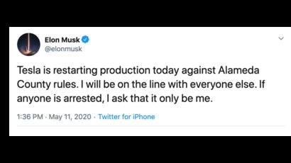Coronavirus: Musk defies orders and reopens Tesla's California ...