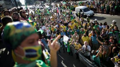 People take part in a demonstration to support Brazil's President Jair Bolsonaro, in Sao Paulo, Brazil, June 21, 2020