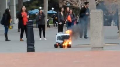 Kiwibot delivery robot catches fire after 'human error