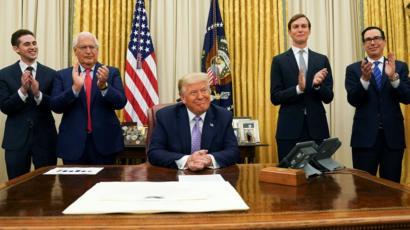 Donald Trump tras anunciar el acuerdo (13de agosto de 2020)