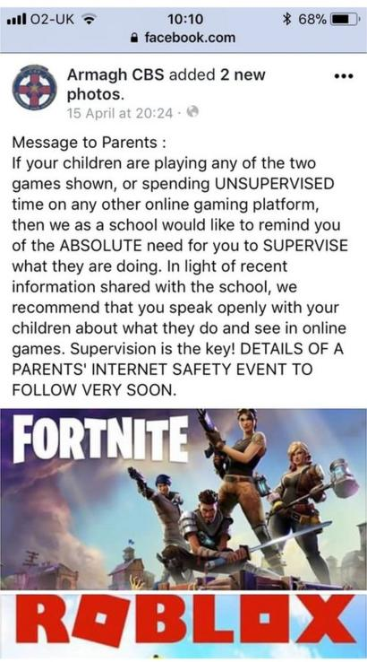 School Warns Over Roblox And Fortnite Online Games Bbc News