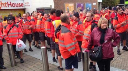 Portsmouth Post Workers Stage Unofficial Walk Out Bbc News