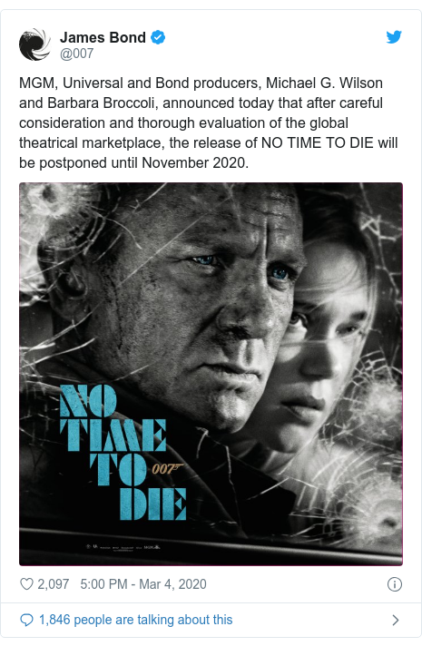 Release of James Bond film No Time To Die delayed amid coronavirus ...