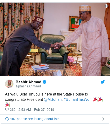 Twitter wallafa daga @BashirAhmaad: Asiwaju Bola Tinubu is here at the State House to congratulate President @MBuhari. #BuhariHasWon 🎉🎉🎉