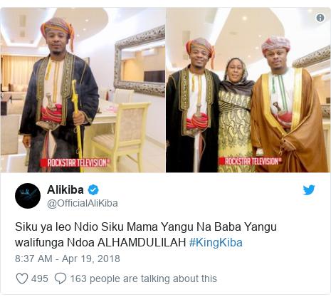 39c184231197 Ujumbe wa Twitter wa  OfficialAliKiba  Siku ya leo Ndio Siku Mama Yangu Na  Baba