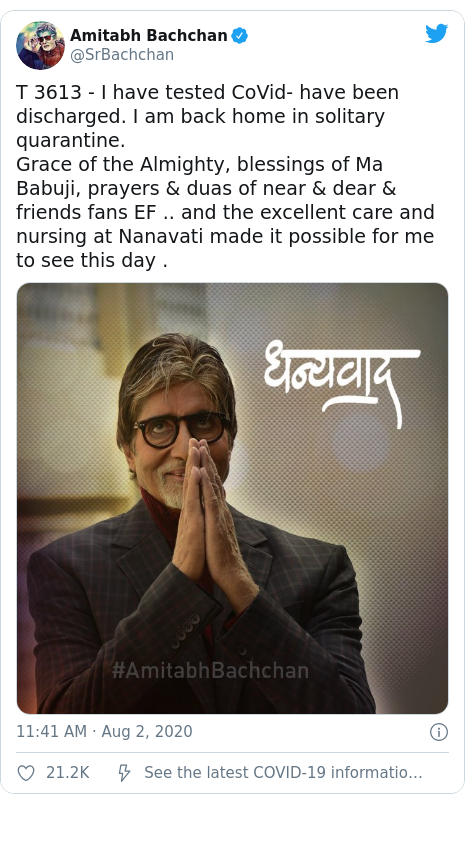 Amitabh Bachchan: Bollywood star recovers from Covid-19 - BBC News