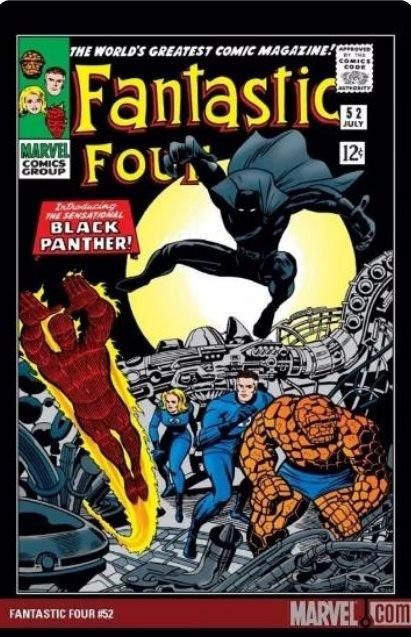 """Fantastic Four cover saying """"Introducing the sensational Black Panther"""" as character leaps into vision."""