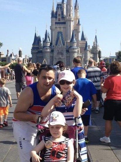 A charity arranged for the Thorne family to go to Florida