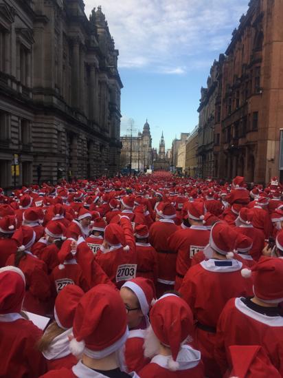 Santa dash in Glasgow
