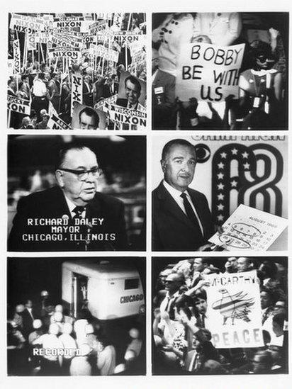 Composite of images showing the turbulent political scene in 1968 at the Democrat and Republican national conventions.
