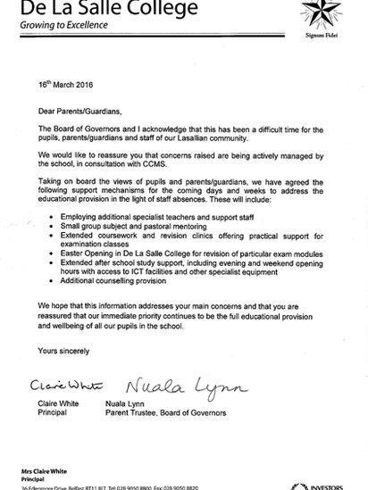 De La Salle College, Belfast: School sends letter to parents