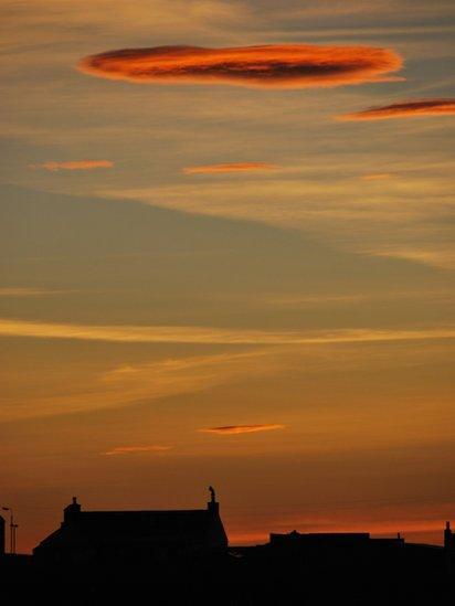Sunset-lit clouds