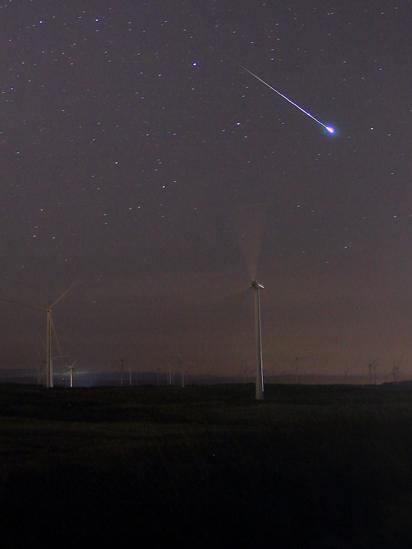 Geminid meteor shower over Whitelee wind farm