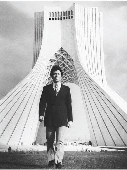 Hossein Amanat in front of the Azadi Tower (1971)