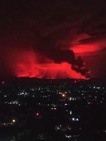 A general view of erupting Mount Nyiragongo over Goma, Democratic Republic of the Congo, on 22 May 2021