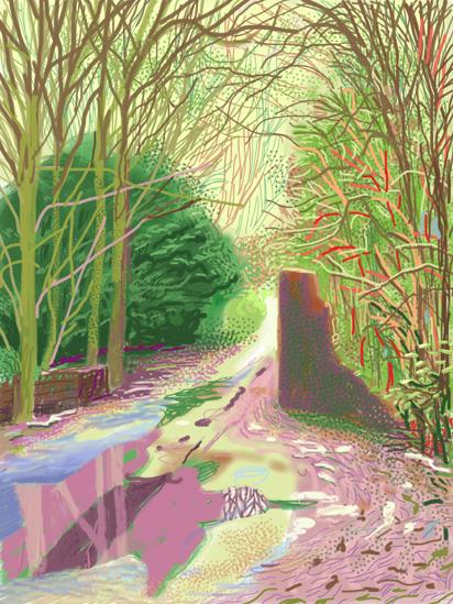 The Arrival of Spring in Woldgate, East Yorkshire in 2011 (twenty eleven) - 2 January by David Hockney