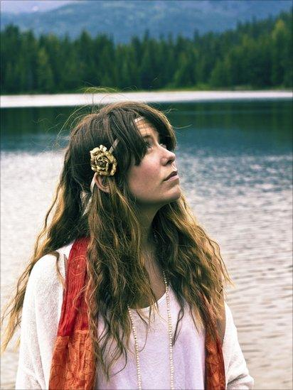 Woman in hippy clothes
