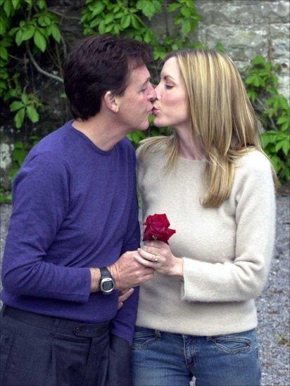Sir Paul McCartney Heather Mills kiss at Castle Leslie June 10, 2002 in County Monaghan, Irish Republic