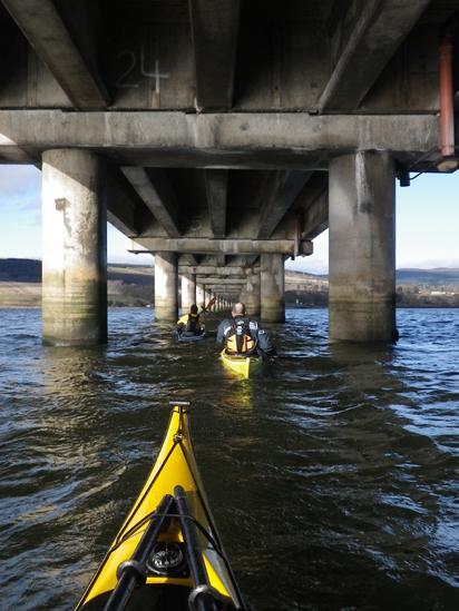 Kayaks under the Cromarty Firth road bridge