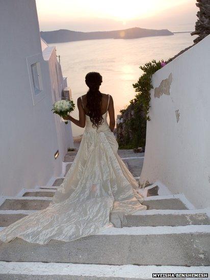 Bride in her wedding dress in Santorini
