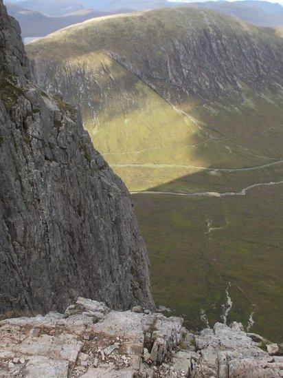 Climber on Buachaille Etive Mòr
