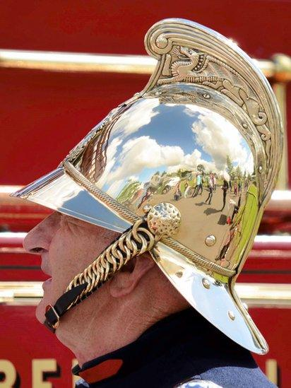 Man in firefighter helmet