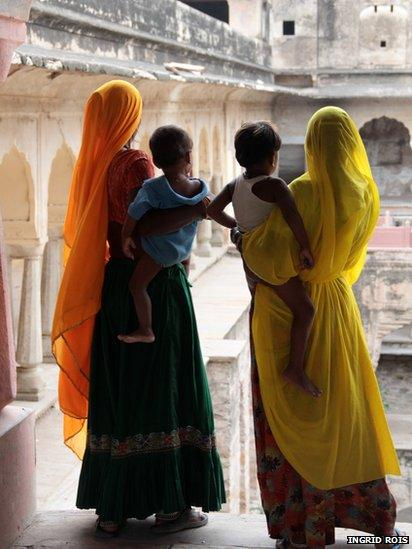 Women in an abandoned temple in Rajasthan