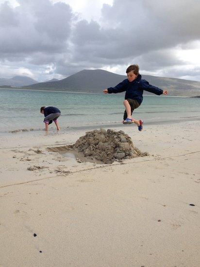 Campbell and Iona on Horgabost beach