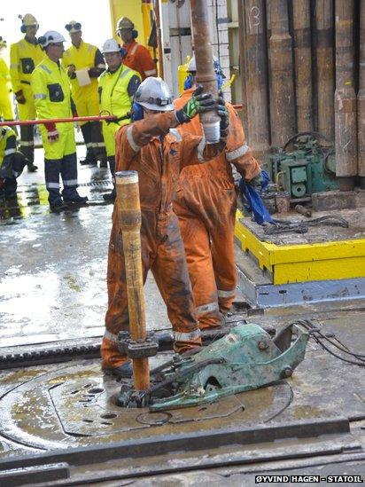Drilling on an oil rig