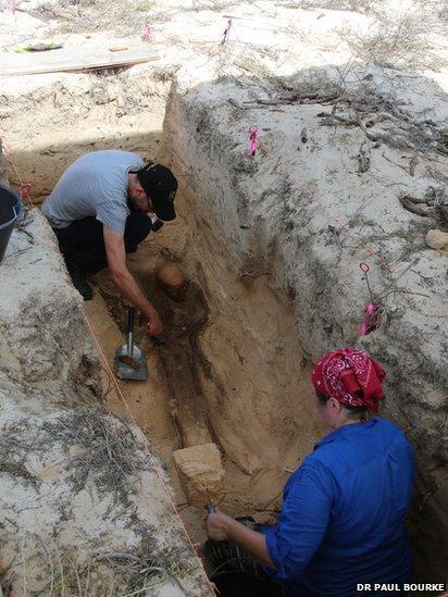 Experts excavating the skeleton
