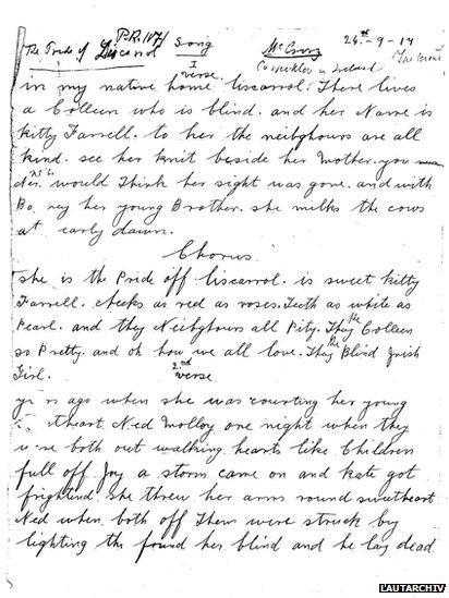 Handwritten transcription of The Pride of Liscarroll lyrics