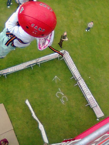 Girl doing a simulated parachute jump