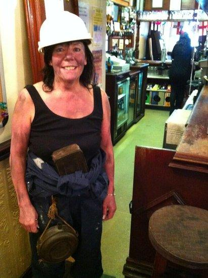 Heather Hopwood, landlady of The Rusty Dudley, dressed as a miner