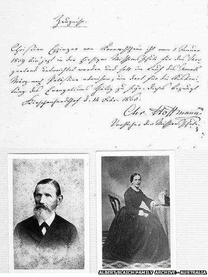 Testimony from Christoph Hoffman regarding the immigration of Christian Eppinger to Palestine