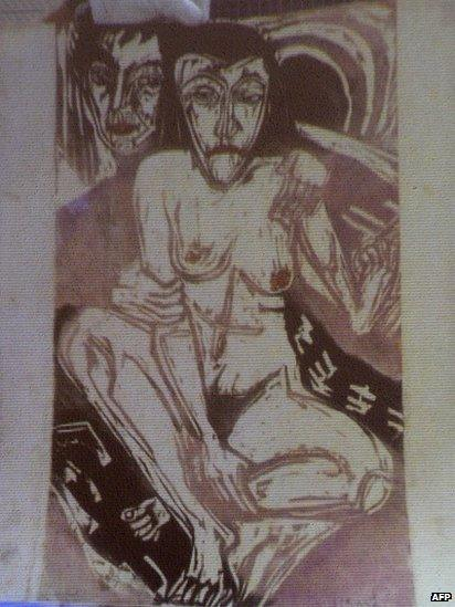 A formerly unknown picture by German artist Ernst Ludwig Kirchner entitled Melancholic Girl, unveiled by the German authorities in Augsburg, 5 November