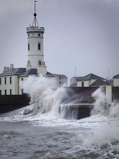 Waves break near Arbroath lifeboat centre