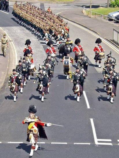 Troops parade