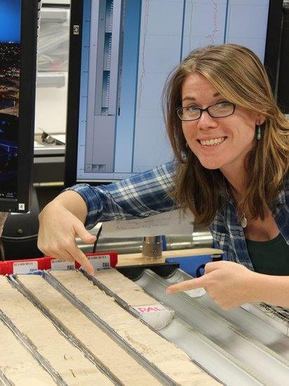 Kate Littler with the sediment cores
