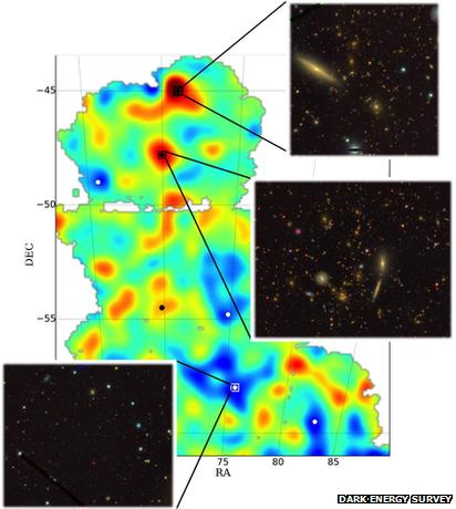 dark matter map with galaxy images