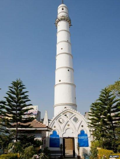 Bhimsen Tower or Dharahara which resembles a lighthouse in Kathmandu, Nepal.