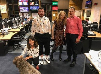 Nelson the dog with Liz Kendall, Scottee, Kate Williams and Michael Portillo
