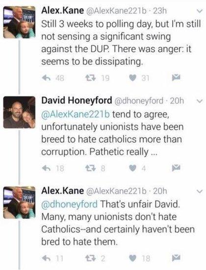 Tweets by Alex Kane and David Honeyford