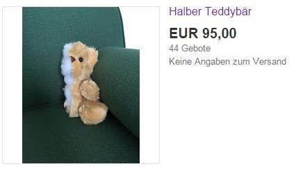 Half of a stuffed bear on sale on eBay in Germany